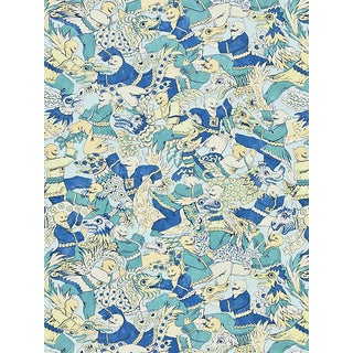 Scalamandre Dragon Dance, Summer Sage Fabric For Sale