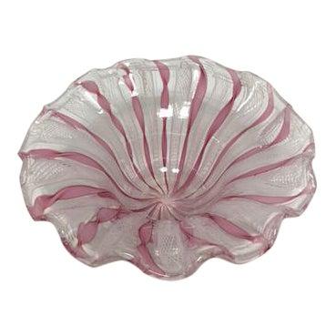 Murano Latticino Glass Bowl For Sale