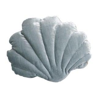 Small Shell Pillow - Misty Blue Velvet