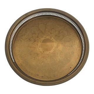 Vintage Brass Selden Etched Round Gallery Serving Tray