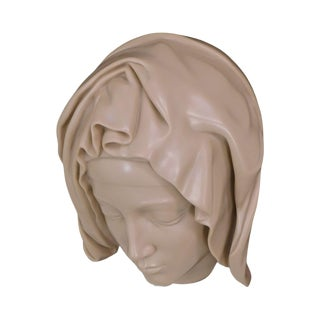 Head of the Virgin Detail of the Pieta by Michelangelo, Cast Carrara Marble For Sale