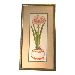 Vintage Hand Painted Watercolor by Jayne Crews For Sale