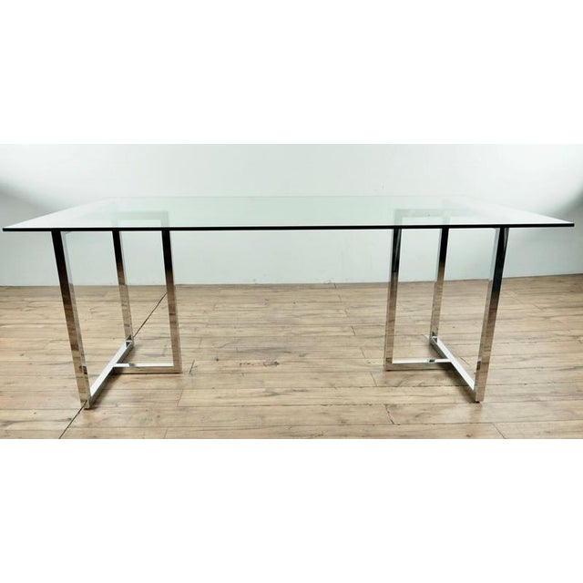 Modern look, glass and metal, purchased 3 years ago in San Francisco. Dimensions (in): 73.0 W x 37.0 D x 29.0 H.