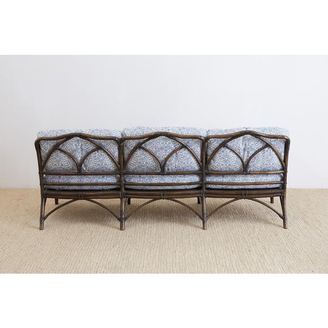 McGuire Blue and White Upholstered Bamboo Rattan Sofa For Sale - Image 11 of 12