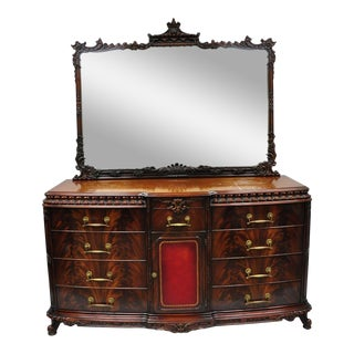 Chinese Chippendale Flame Mahogany Triple Dresser Chest & Mirror Detroit Furniture For Sale