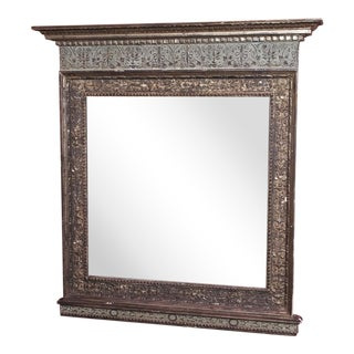 Vintage Italian Silver Gilt Mirror For Sale