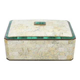 Mid Century Modern Maitland Smith Brass Tessellated Stone Lidded Box Vessel 70s For Sale