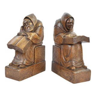 Large Pair Hand Carved Medieval Monks Reading Wooden Bookends For Sale
