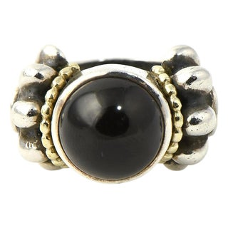 Lagos Caviar Onyx, Sterling Silver & 18k Gold Ring For Sale