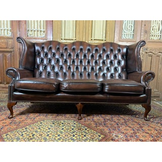 Vintage Mid-Century English Brown Leather Chesterfield Wingback 3 Seat Sofa Preview
