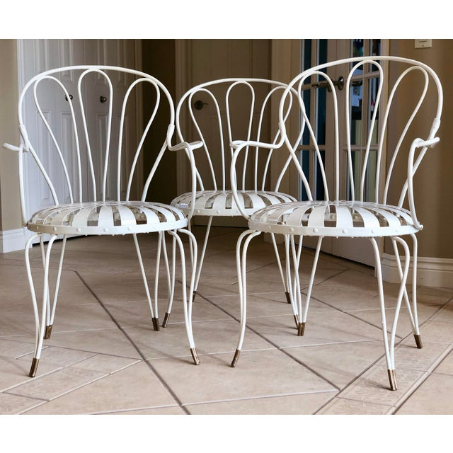 1930s Vintage French Art Deco Francois Carre White and Gold Sunburst Garden Chairs - Set of 3 For Sale - Image 9 of 10