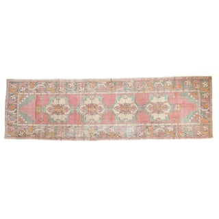 "Vintage Distressed Oushak Rug Runner - 3' X 9'8"" For Sale"