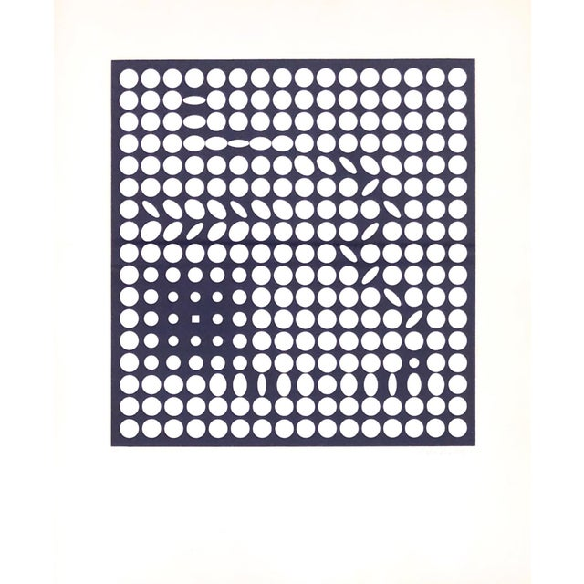 Op-Art screen print by Victor Vasarely, framed. Rare blue iris color. Raised press seal {Denise Rene Editeur}. French...