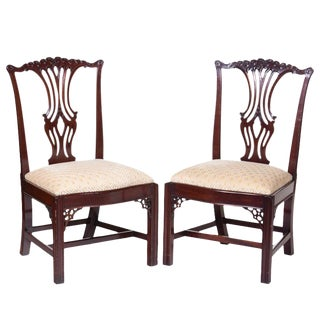 Vintage Chippendale Mahogany Chairs - a Pair For Sale
