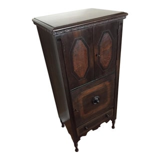 1920s Art Deco Walnut & Burled Ash Smoking Cabinet For Sale