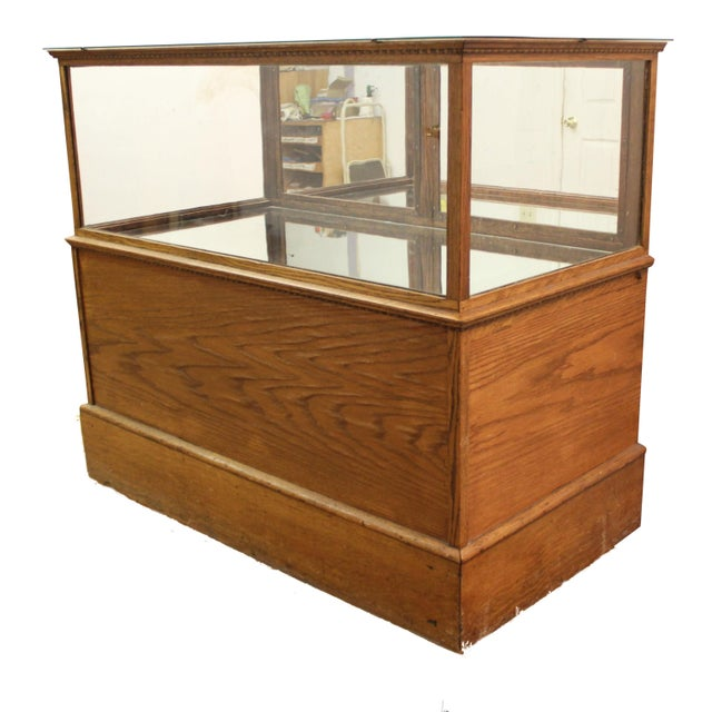 Antique Oak & Glass Mirrored Display Case - Image 1 of 11