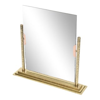 Vintage Bronze and Brass Dual Picture Frame and Mirror For Sale