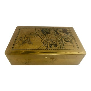 Vintage Brass Chocolates Box For Sale