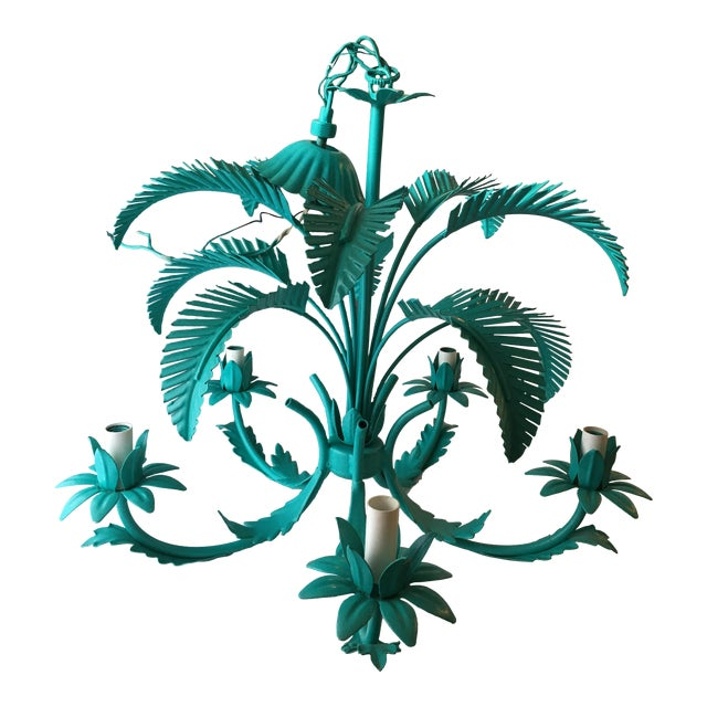 Turquoise Palm Tole Chandelier - Image 1 of 7
