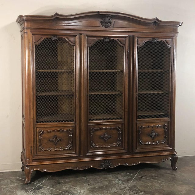 Italian Antique Italian Walnut Piemontese Triple Bookcase For Sale - Image 3 of 13