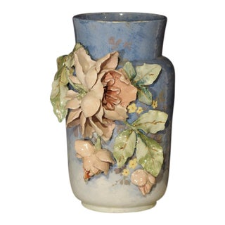 19th Century Blue Barbotine Vase From France, Edouard Gilles For Sale