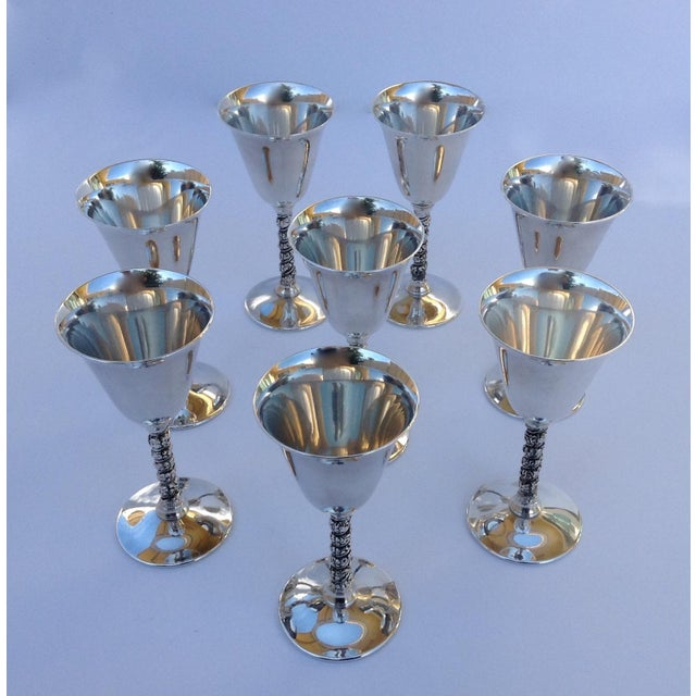 "1960s Vintage Silver Plate Spanish ""Valerio"" Drinks Cordials - Set of 8 For Sale - Image 5 of 11"