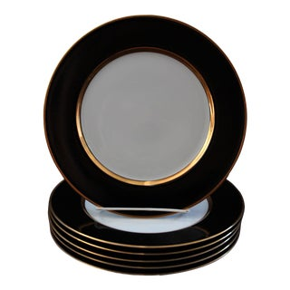 Renaissance Black on White Dinner Plates by Fitz & Floyd - Set of Six For Sale
