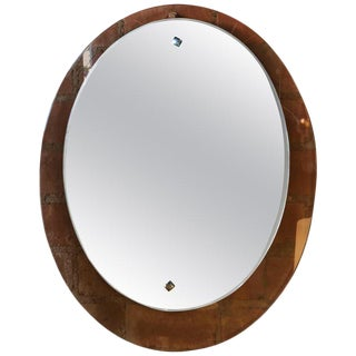 Midcentury Elliptical Mirror With Orange Minimal Frame Glass, Italy, 1950s For Sale