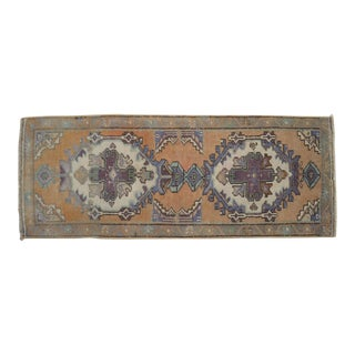 "Distressed Low Pile Petite Rug Hand Knotted Turkish Yastik Faded Mat - 1'7"" X 4'1"" For Sale"
