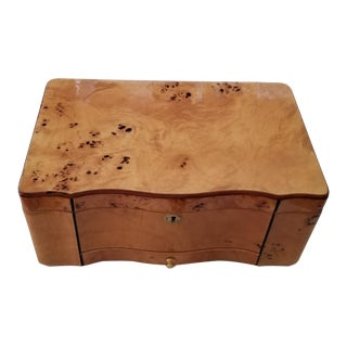 Vintage Burled Elm Wooden Cigar Humidor Box With Keys For Sale