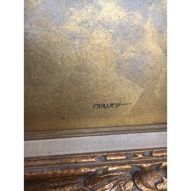 Original Gold Leaf on Masonite Painting by Les Parisch - Grand Tetons For Sale - Image 9 of 12