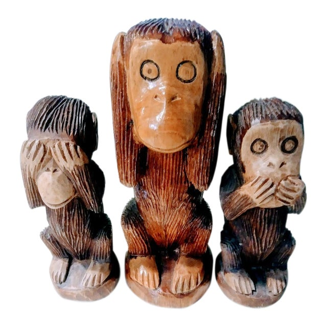 Primitive See No Evil, Hear No Evil, Speak No Evil Wooden Monkey Statues - Set of 3 For Sale