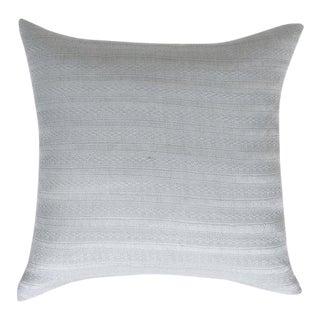 "Guatemalan Light Gray Silk Pillow 22""x22"""" For Sale"
