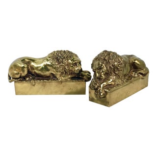Antonio Canova Vintage Lion Bookends - A Pair For Sale