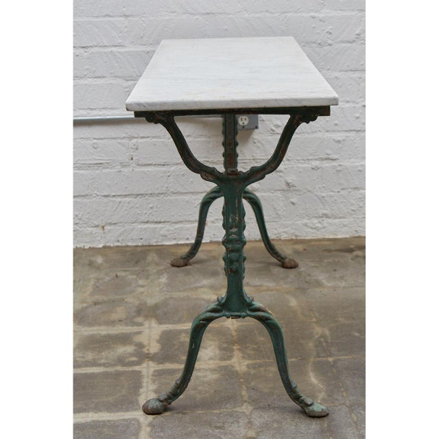 French Cast Iron Cafe Table With Marble Top For Sale In Los Angeles - Image 6 of 8
