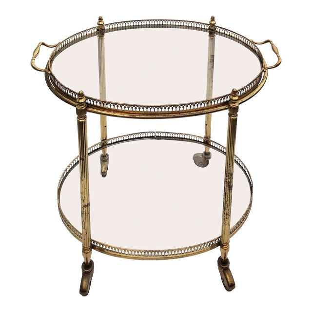1960s Neoclassical Maison Bagues Oval Bar Cart For Sale