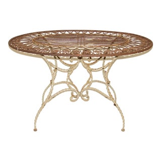 French Wrought Iron Outdoor Table For Sale