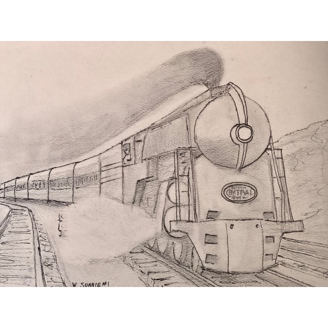 Vintage 1940s drawing of an Art Deco Steam Locomotive NY central railroad line. Pencil drawing on heavy paper signed lower...