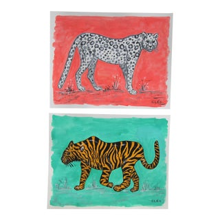 Chinoiserie Tiger Leopard Paintings by Cleo Plowden - a Pair For Sale