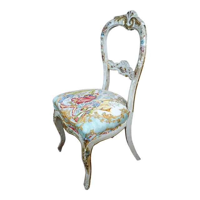 18th Century Venetian Painted and Upholstered Side Chair For Sale