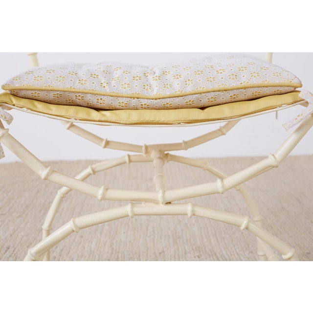 Midcentury Italian Faux Bamboo Vanity Stool or Bench For Sale - Image 10 of 13