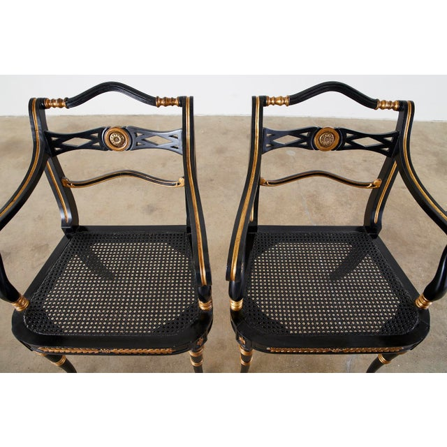 Pair of Regency Style Lacquered Armchairs by Theodore Alexander For Sale - Image 4 of 13