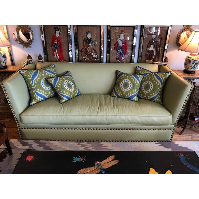 Vintage Lime Leather George Smith Knole Style Sofa For Sale - Image 11 of 11