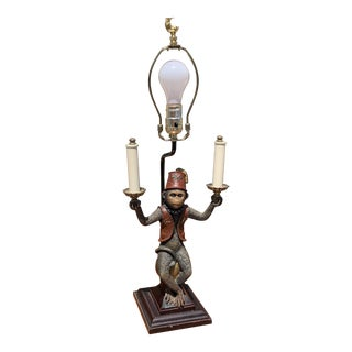 Vintage Monkey Butler Lamp With Red Shade For Sale