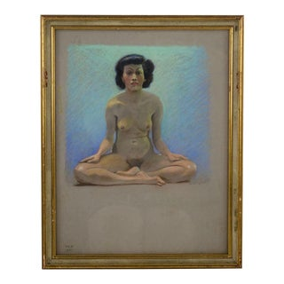 "1937 Vintage Victor C. Anderson ""Yoga Girl"" Pastel on Board Drawing For Sale"