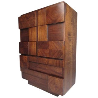 Mid-Century Lane Altivista Brutalist Highboy Dresser For Sale