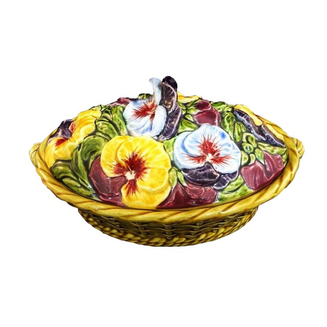 Antique Sarreguemines Majolica Pansy Tureen French Faience Majolica Flower Tureen For Sale