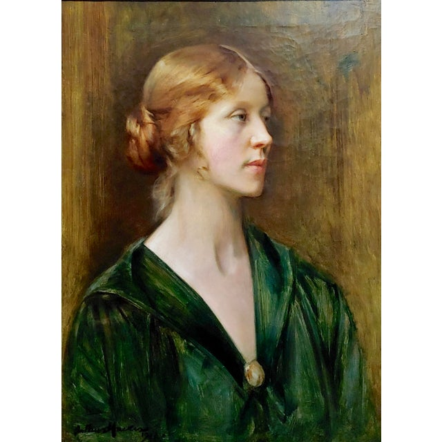 Figurative Arthur Hacker 1918 Portrait of a Sophisticated Red Haired Lady - Oil Painting For Sale - Image 3 of 11