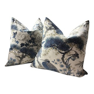 Scalamandre Shenyang in Porcelain With Plush Down Inserts - a Pair For Sale