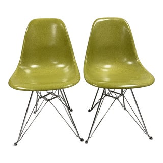 Mid-Century Modern Citron Modernica Shell Side Chairs - a Pair For Sale